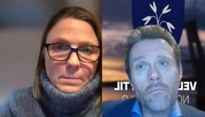 DIGITALT MØTE: Utvalgsleder Camilla Hille (V) og kommunalsjef Sten Tore Svennes i utvalgsmøtet onsdag kveld.