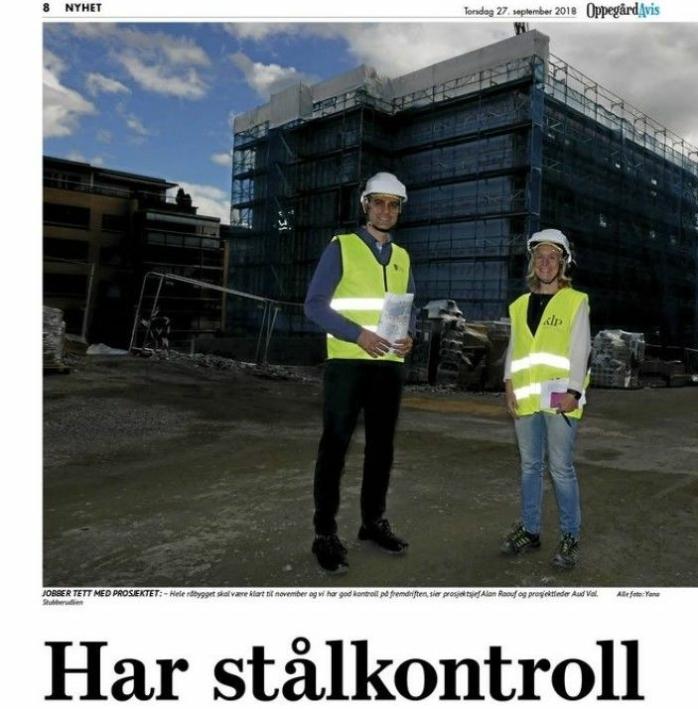 HADDE STÅLKONTROLL FREM TIL HØSTEN 2018: I Oppegård Avis fra 27. september 2018 kunne du lese at kommunen på den tiden hadde stålkontroll på det økonomiske rundt prosjektet.