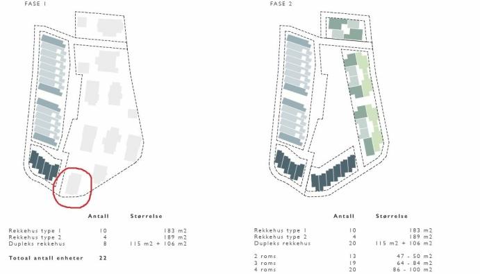 """REKKEHUS SOM NABO: Den røde sirkelen viser plasseringen av huset til familien Mehrizadeh i forhold til den de åtte """"duplex rekkehusene"""" på fire etasjer som skulle oppføres vest for eiendommen i første byggetrinn. Huset til familien Mehrizadeh (Båtsleppa 1) og nabohuset til høyre for det (Båtsleppa 3) skulle rives og erstattes med totalt tolv """"duplex rekkehus"""" ( boliger over to plan i et bygg på fire etasjer). Skisse: Planforslaget til Bonum"""