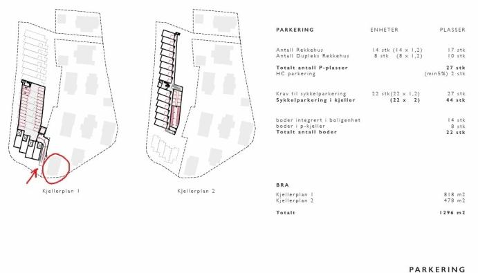 INNKJØRSEL LIKE VED: – Innkjørselen til garasjeanlegget til de 22 nye boligene er tegnet rett på vestsiden av tomtegrensen og huset vårt, sier Roya Mehrizadeh. Skisse: Bonum Eiendom