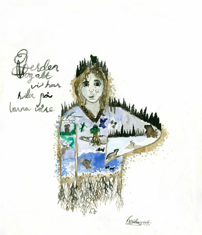 """DELTAR PÅ ÅRETS UKM: """"Verden og alt vi har hviler på barna våre"""" av Frida Helene Haltli (13) fra Svartskog."""