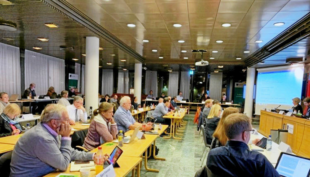 NORDRE FOLLO KOMMUNESTYRE: Kommunestyret i Nordre Follo består av 47 medlemmer. Bildet ble tatt tidligere i fjor høst. Foto: Tønnes Steenersen