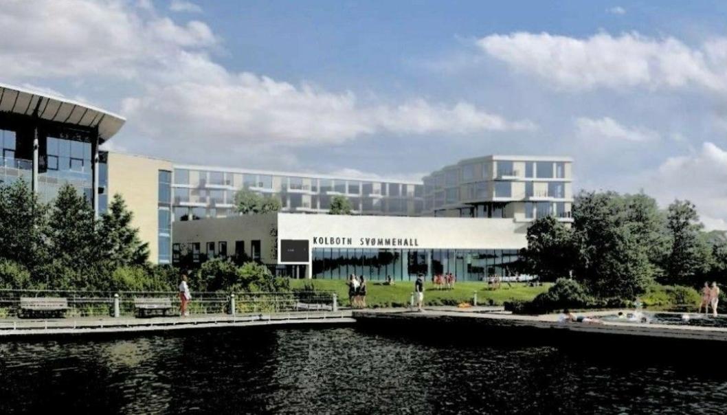 LUFTSLOTT TIL 11 MILLIONER HITTIL: Her kan du se den tidligere planlagte Kolbotn svømmehall omringet av mange nye boliger, og et flytende svømmebasseng på Kolbotnvannet. Våren 2020 ble disse planene lagt på is.