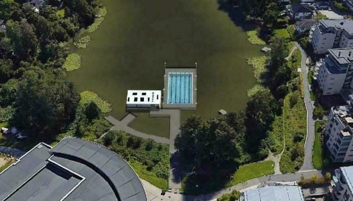 SLIK KUNNE DET BLITT: Lite-House AS vant anbudskonkurransen , og så for seg det flytende bassenget som dette. Nå er planen lagt på is.