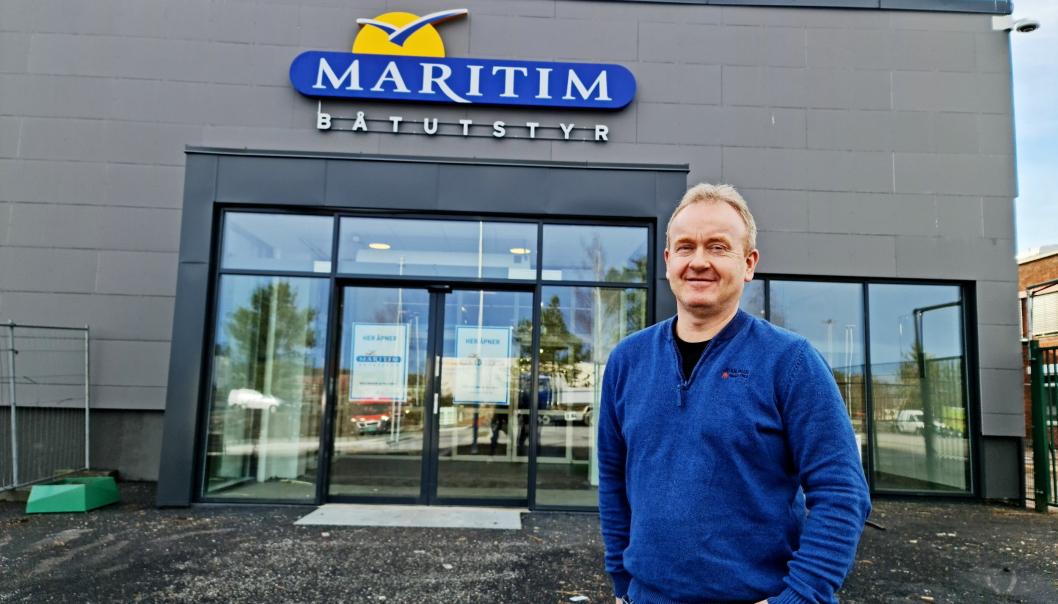 ÅPNER SNART: Kjell Erik Skovly gleder seg til å åpne båtutstyrsbutikken Maritim på Sofiemyr.