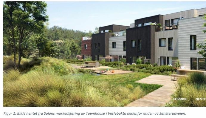 TOWNHOUSE OVER TRE PLAN: Utbyggeren Solon Eiendom bygger flere townhouse (123 til 145 kvadratmeter i areal) over tre plan og fordelt på to rekker i Veslebukta på Kolbotn. Illustrasjon: Solon Eiendom