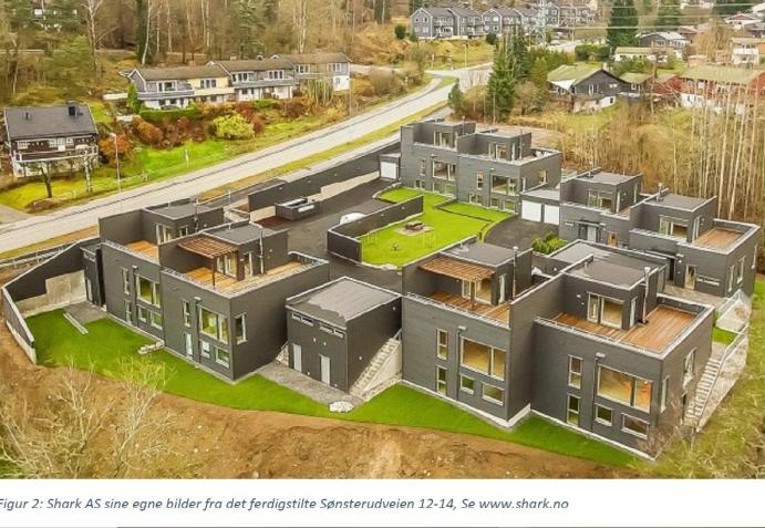 REKKEHUS OVER TO ETASJER: De åtte rekkehusene i Sønsterudveien 12 og 14 ble solgt for 6 til 10 millioner kroner per bolig.
