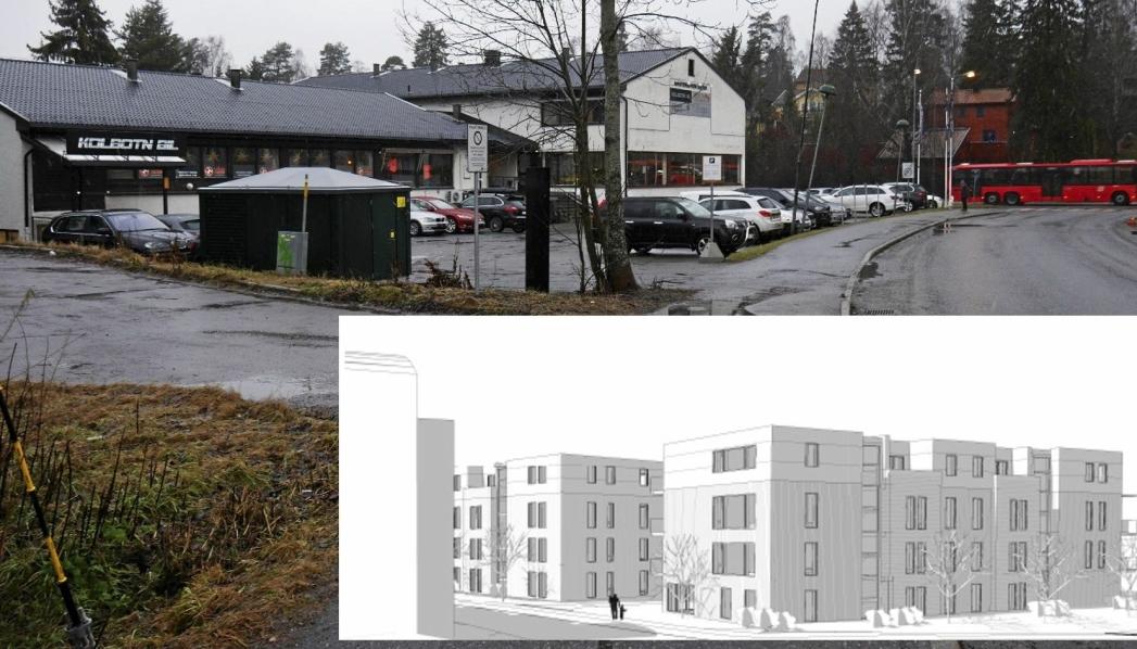 FRA BRUKTE BILER TIL BLOKKER: På bildet ser du næringseiendommen i Sønsterudveien 26. Innfelt illustrasjon viser planen for hvordan planområdet med den nye blokkbebyggelsen i Sønsterudveien 26 kan se ut sett fra Sønsterudveien. Du kan også se hjørnet til naboblokken i Holbergs vei 1 til venstre. Illustrasjonen er hentet fra sakspapirene.