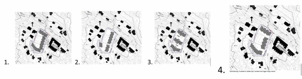 """TRE ALTERNATIVER: Mulighetsanalyse for organisering av ny bebyggelse viser tre ulike alternativer: 1. """"Høy utnyttelse"""": Kvartalsbebyggelse med sammenhengende lameller (25 moduler) langs omkringliggende veier. 2. """"Lav utnyttelse"""": Lameller (17 moduler) bygget parallelt med Holbergs vei. 3. """"God utnyttelse"""": Lameller (22 moduler) parallelt med Sønsterudveien. Lamellbebyggelse parallelt med Sønsterudveien. 4. """"God utnyttelse"""": Hybridløsning - Kvartalet er splittet opp i lameller (22 moduler) som ligger langs veiene."""