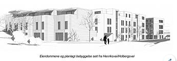 SYV REKKEHUS: Det siste planinitiativet handler om blokkbebyggelsen på fire etasjer og syv rekkehus på tre etasjer. Du ser rekkehusene på illustrasjonen. Sett fra Henriksvei/Holbergs vei. Kilde: Shark AS/ hentet fra sakspapirene til Nordre Follo kommune