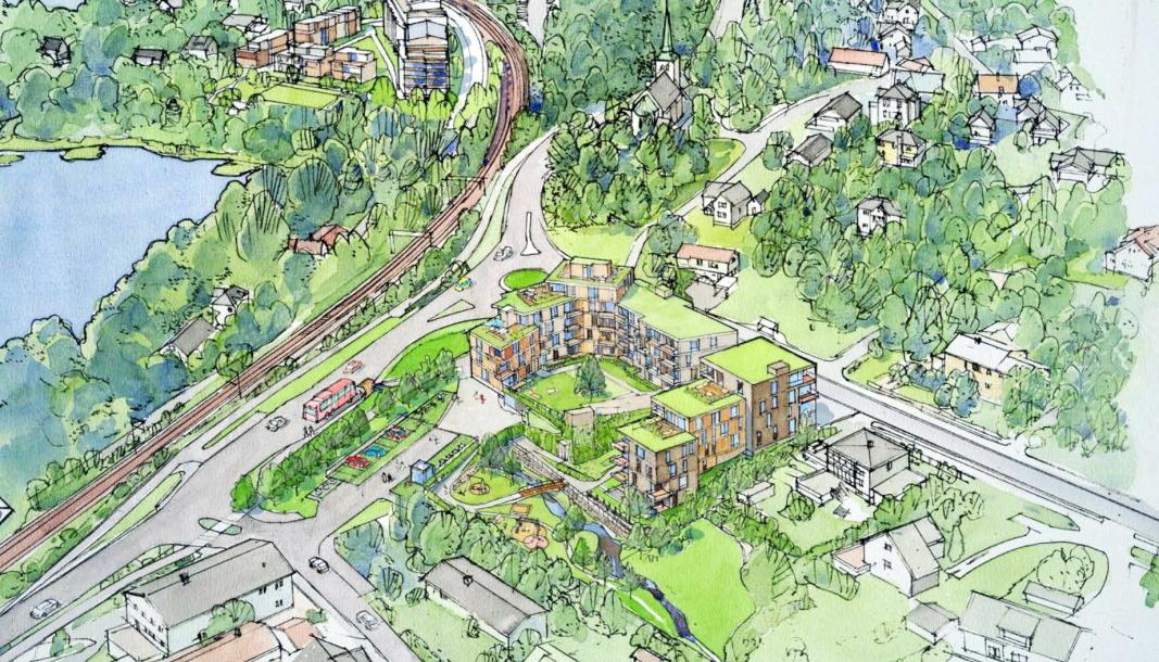 BLIR NYTT: Slik er det tenkt at boligprosjektet Skredderstubekken skal realiseres. Boligen til Henrik og Maia Holthe ligger kloss inn til leilighetene i Sønsterudveien.