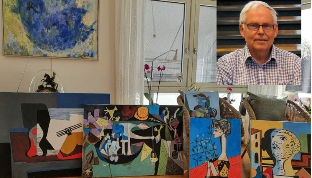 """Fra vestre til høyre kan du se noen av bildene Rolf Erik Lømo har malt: """"Stilleben med gitar"""", """"Nattfiske i Nantes"""", """"Selvportrett"""", """"Jacqueline"""" og """"Marie-Therese Walter, 1937"""". Foto: Privat"""