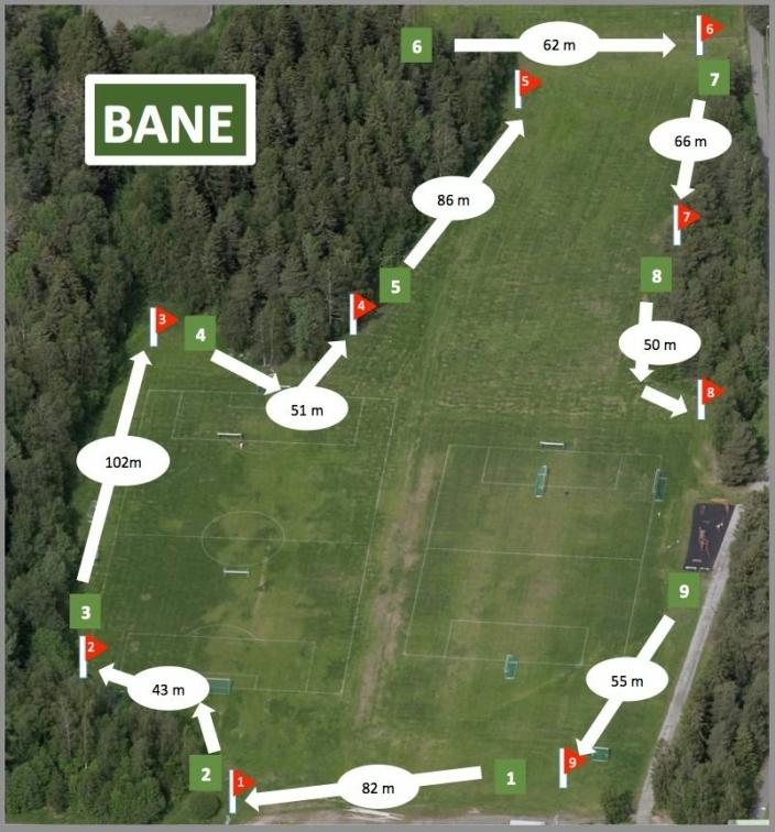 """BANEKARTET: Slik skal den """"nye"""" fotballgolfbanen med ni hull se ut når den åpner om noen uker."""