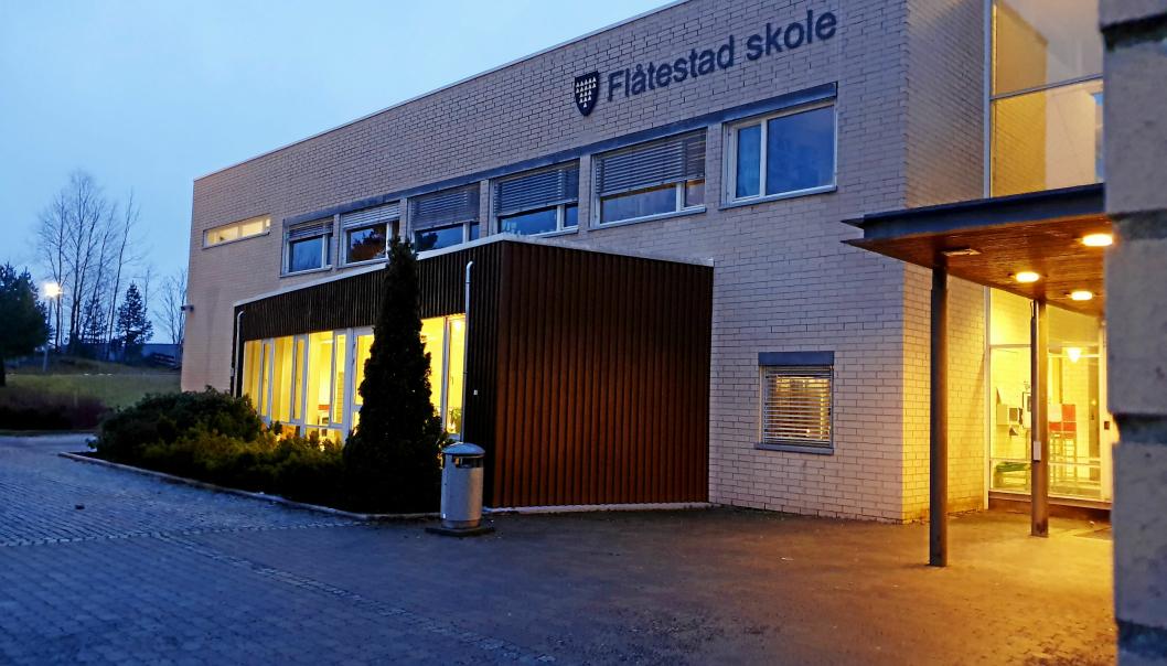 KORONASMITTE: Smittetilfellet ved Flåtestad skole er tilknyttet 8. trin.