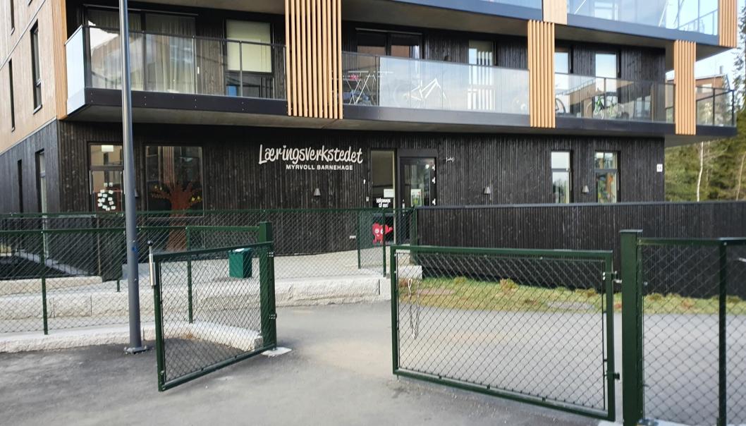 SMITTE: Barnehagen på Myrvoll åpnet i august i fjor. Nå er 38 personer satt i karantene etter at det konstatert ett smittetilfelle tilknyttet barnehagen.