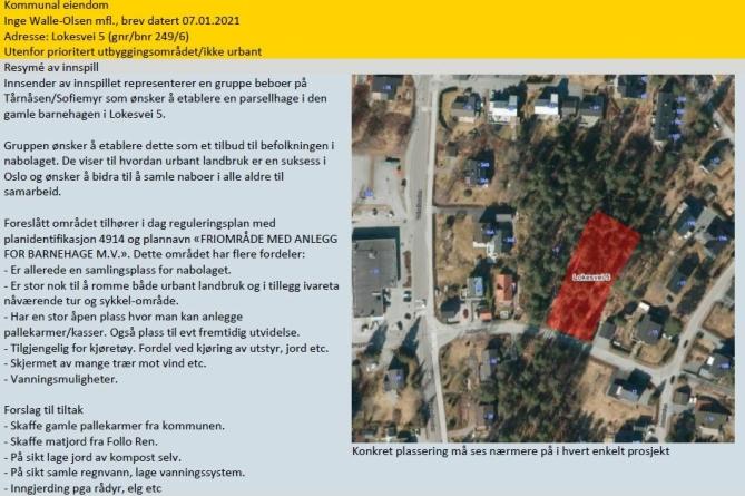 LOKESVEI 5: På bildet kan du se den eventuelle plasseringen av prosjektet på Tårnåsen. Kilde: Nordre Follo kommune