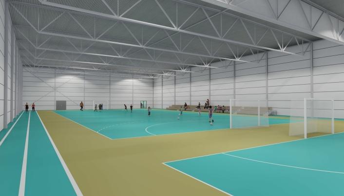 INNENDØRS: Hallen vil bestå av to håndballflater, med alle muligheter for flerbruk.