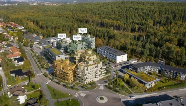SLIK KAN TÅRNÅSEN TORG SE UT: Slik skal Tårnåsen Torg se ut når alt er ferdig. Første byggetrinn består av tre bygninger nord i planområdet (bygg 4-6 på illustrasjonen). Illustrasjon: A-lab