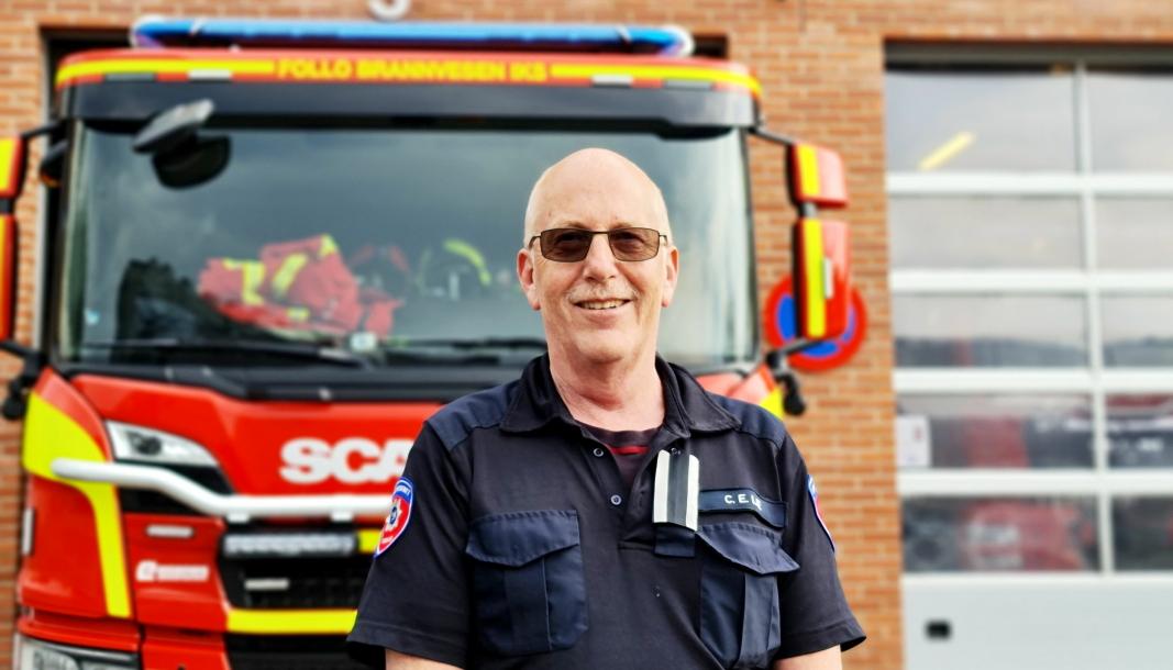 EKSTRA HJEM: Oppegård brannstasjon har vært som et ekstra hjem for Carl-Erik Lie i en årrekke. Den siste delen av brannmesterkarrieren har han vært stasjonert i Ski, men nå går brannmesteren av med pensjon.