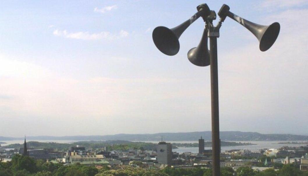 TESTES 9. JUNI: Rundt om i landet er det varslingsanlegg med sirener som skal varsle befolkningen ved akutt fare. Signalene testes to ganger i året. Foto: DSB