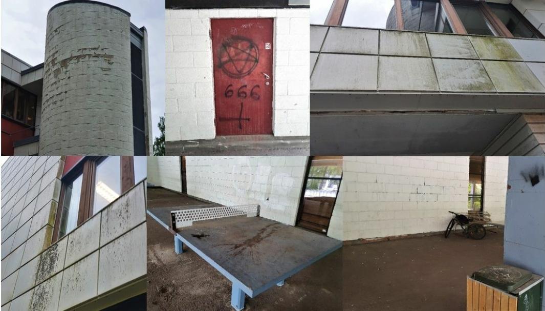 SKOLE I FORFALL: Bildene som er satt sammen i en collage, viser kun noe av forfallet man kan se utvendig ved å gå rundt skolebygget på Fløysbonn. Alle foto: Yana Stubberudlien