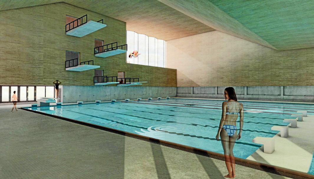 LANGHUS FØRST: Svømmehallen på Langhus skal bygges for 140 millioner og skal stå ferdig om to år. Illustrasjonen er hentet fra tidligere prosjektbeskrivelse, som er nå endret. Illustrasjon: Ola Roald Arkitekter