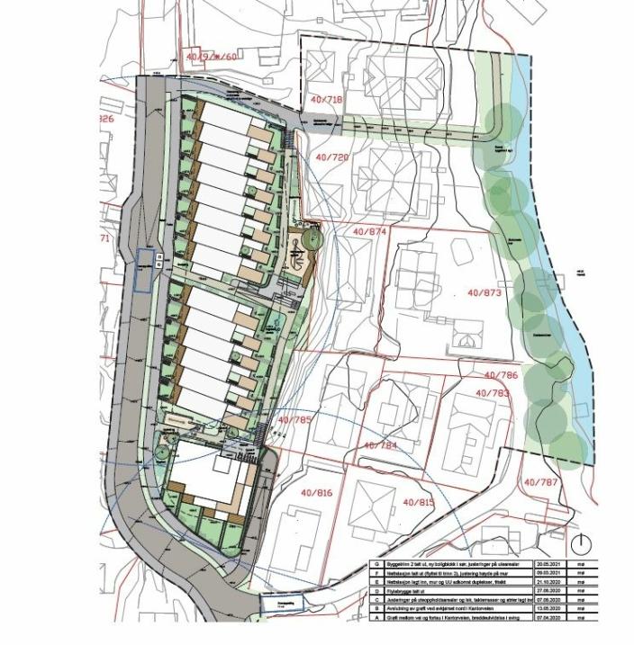DET NYE FORSLAGET: Det endrede planforslaget innebærer at det legges til rette for bygging av 14 rekkehus mot Kantorveien og opp til 14 leiligheter, evt. rekkehus/dupleksrekkehus, i svingen Kantorveien/Båtsleppa. Kilde: R21 ARKITEKTER for KTV PROSJEKT