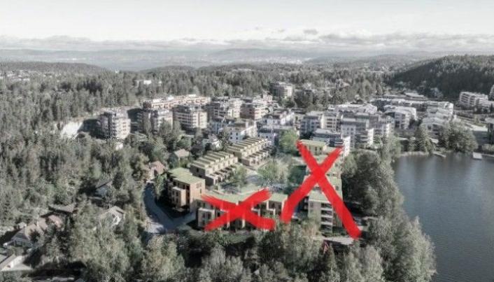 FRA TO TIL ETT BYGGETRINN: I 2018 ble det vedtatt at feltet B3 vest for Veslebukta skulle utvikles med 86 nye boenheter, og at det kan realiseres i to byggetrinn. Nå har politikerne sagt ja til å bevare småhusbebyggelsen (ni av eiendommene som skulle rives i trinn to, inkludert Båtsleppa 1) som følge av dårlige grunnforhold i området, som forutsetter at nybebyggelsen i byggetrinn to ikke blir realisert (se røde kryss på bildet).