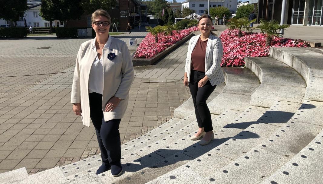 VIL HA SØKNADER: Ordfører Hanne Opdan (Ap) og næringsrådgiver Elisabeth Helen Bjørnsdatter Rytterager.