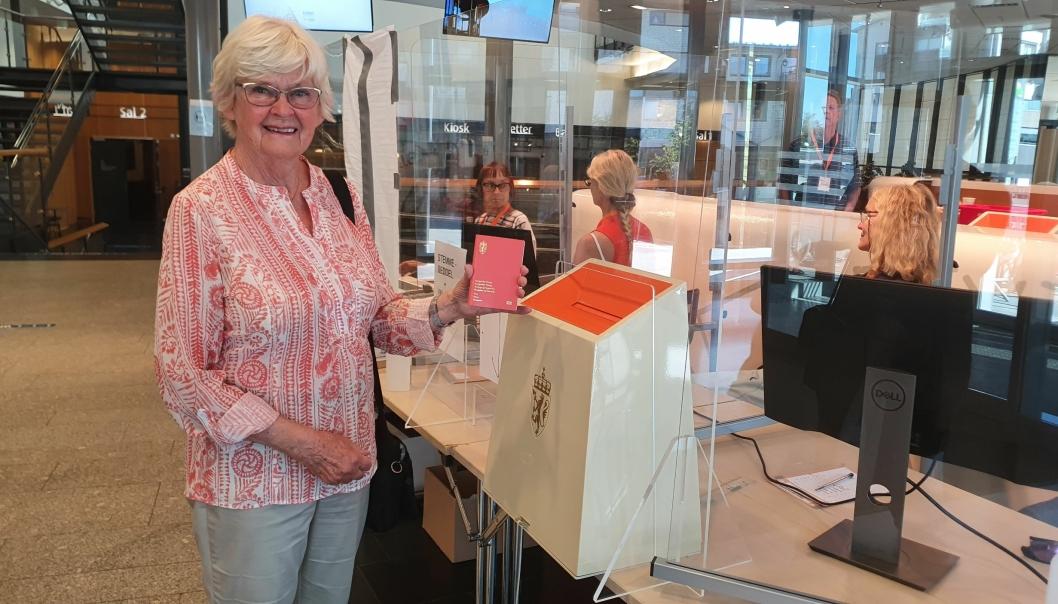 44 ÅR I NORGE: Birgit Kristina Johansen (80) har bodd i Norge i 44 år, men har stemt i et stortingsvalg for første gang. Foto: Yana Stubberudlien