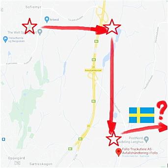 VEIEN FRA SOFIEMYR TIL SVERIGE: Siden 2012 har deler av det gamle kunstgresset fra Sofiemyr vært på Taraldrud (de siste to årene i kontainerne). Forrige uke ble det kjørt til Langhus før det blir fraktet videre til Sverige, ifølge grunneieren.