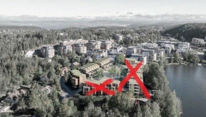 FRA TO TIL ETT BYGGETRINN: I 2018 ble det vedtatt at feltet B3 vest for Veslebukta skulle utvikles med 86 nye boenheter, og at det kan realiseres i to byggetrinn, hvor ni av eiendommene skulle rives i trinn to, inkludert Båtsleppa 1. I slutten av juni 2021 sa politikerne i utvalget ja til å bevare småhusbebyggelsen som følge av dårlige grunnforhold i området, som forutsetter at nybebyggelsen i byggetrinn to (inkludert Båtsleppa 1) ikke blir realisert (se røde kryss på bildet). Illustrasjonen er hentet fra planbeskrivelsen ved Civitas AS, R21 Arkitekter AS og Bar Bakke Landskapsarkitekter AS