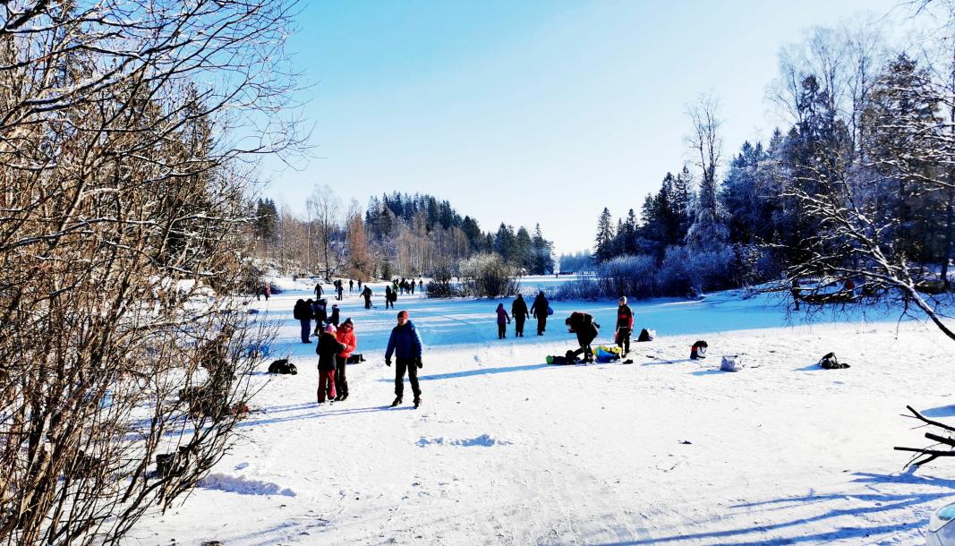 LANGEN: Det var her, på innsjøen Langen, at Anders Baumberger og dugnadsgjengen skapte skøyte-hysteri i vinter.