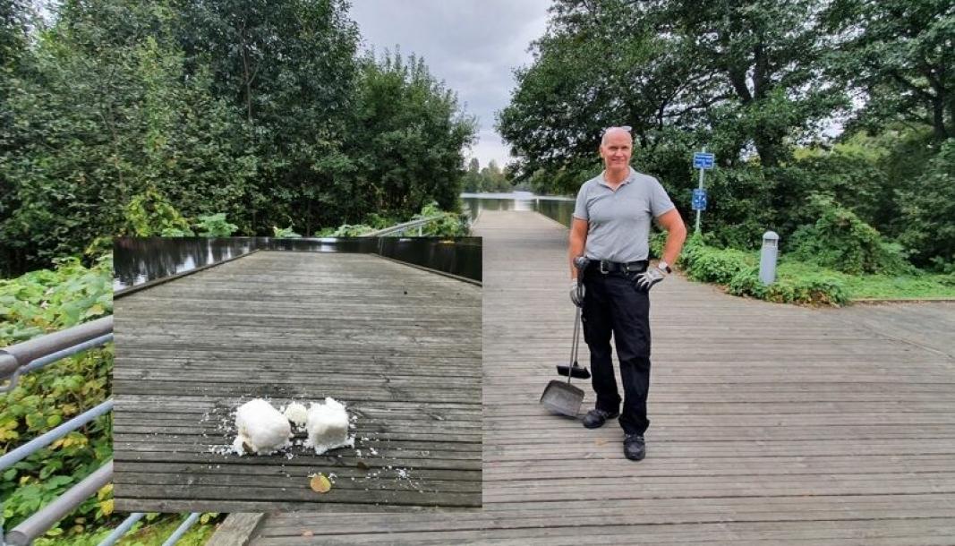 RYDDET OPP: Vaktmester Thomas Hofsmarken fant fem kilo ris på bryggen i Veslebukta torsdag 16. september.