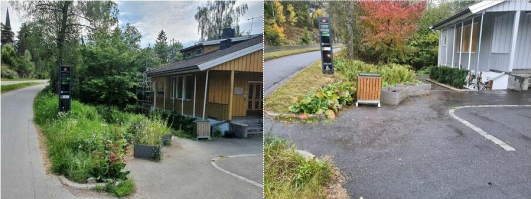 FØR OG NÅ: De to bildene, som viser uteområdet foran undervisningsbygningen i Skiveien 62, ble tatt i begynnelsen av juni og i midten av september. Selve bygningen fremstår også i ny drakt etter at fasadene fikk ny farge i juni-juli.