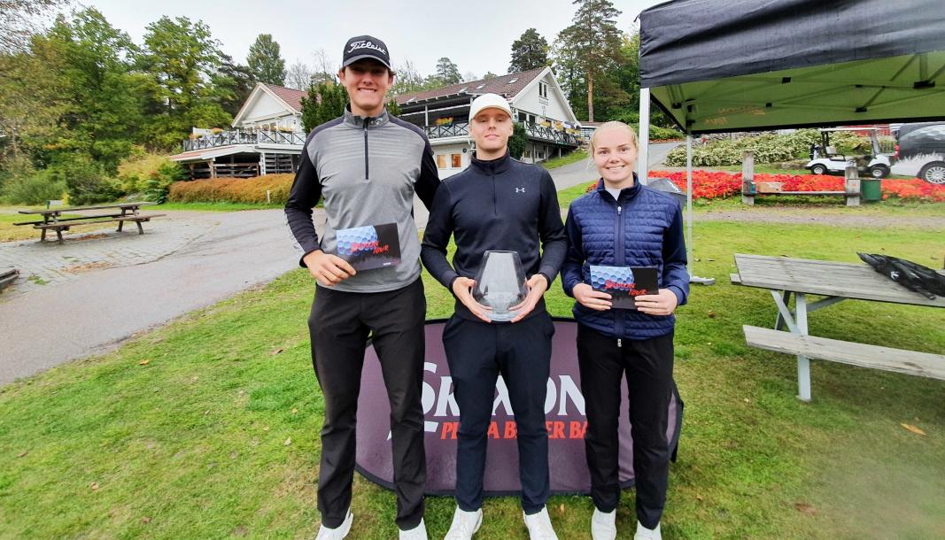 STERKE:Theodor Billington Takman (fra venstre), Rune Bøkeid og Henriette Stranda imponerte alle i årets siste turnering på Srixon Tour.