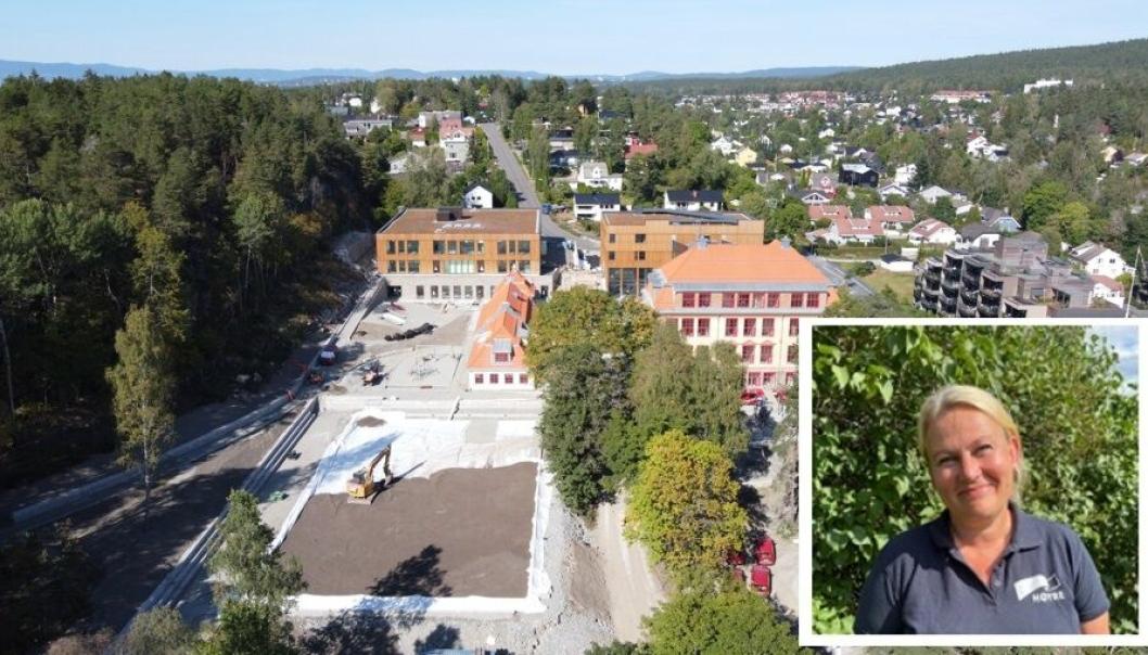 NY KOLBOTN SKOLE: Prosjektet med ny Kolbotn skole er i rute. Dette tilsier at skolen og idretten kan ta de nye byggene i bruk mandag 15. november. Bildet viser hvordan prosjektet så ut ut for tre uker siden. Innfelt foto viser gruppelederen for Nordre Follo Høyre, Cecilie Dahl-Jørgensen Pind.