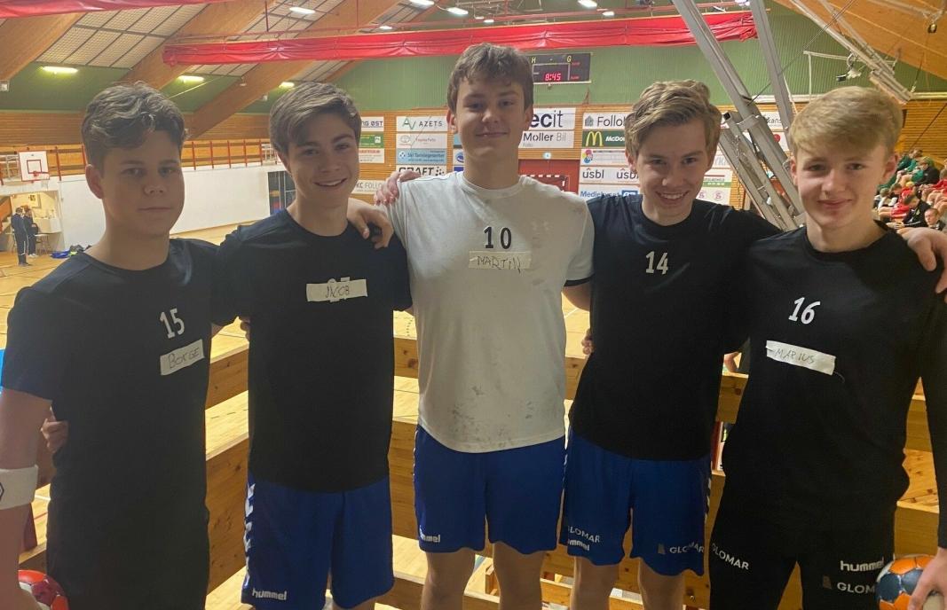 LOVENDE: Mats Borge (f.v.), Jacob Niss, Martin Fjeldstad, Magnus Tellefsen og Marius Åberge er alle tatt ut til dagens regionale landslagssamling i håndball for 2006-årgangen.
