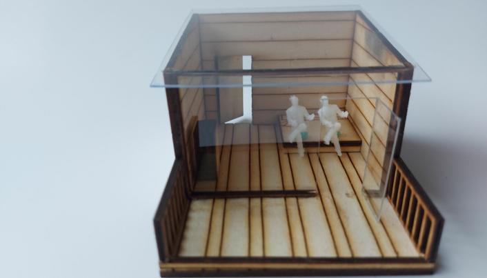 OVERNATTINGSHYTTA PÅ STORØYA: Hytta er tegnet med et transparent tak. Folk kan låne nøkkelen til hytta hos kommunen, for eksempel på biblioteket i Kolben, og leie hytta gratis, på lik linje som man leier ting hos BUA Oppegård.