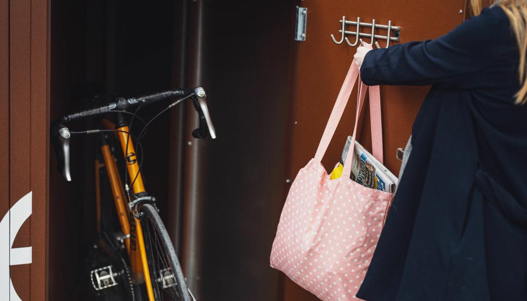SYKKELSKAP: Slik kan du parkere sykkelen og handle bekymringsløst videre.