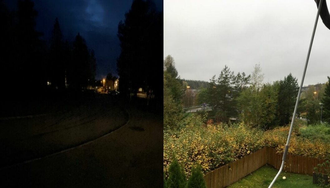 SOFIEMYRHALLEN VS. LANGHUS IDRETTSPARK: Mens området foran Sofiemyrhallen har vært mørklagt i mange måneder, foregår det «megasløsing» med strøm ved Langhus idrettspark, ifølge våre lesere.
